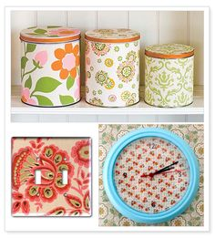 wallpaper covered canisters!   where can i get some vintage wallpaper?