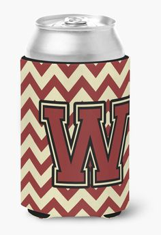 Letter W Chevron Maroon and Gold Can or Bottle Hugger CJ1061-WCC