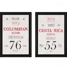 Coffee Artwork, kitchen decor, artwork for kitchen, framed artwork  http://colomandbrit.com/decorate/Artwork/Coffee-Artwork