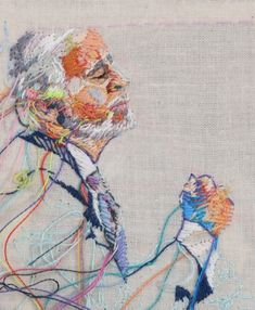 Embroidery art by Lauren Dicioccio. Portrait Embroidery, Paper Embroidery, Modern Embroidery, Thread Painting, Thread Art, Textile Fiber Art, Textile Artists, Art Du Fil, Illustration