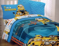 Despicable Me Minions At Work Full Size Comforter: The perfect way to end the day - snuggled under a soft, warm comforter featuring the minions from Despicable Me. The perfect completion to your child's minion bedding set. Minion Room Decor, Minion Bedroom, Kids Bedroom, Bedroom Ideas, Bedroom Inspiration, Kids Rooms, Twin Size Bedroom Sets, Kids Twin Bedding Sets, Full Size Comforter