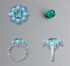Ancône ring: White gold, round and baguette-cut diamonds, sapphires, turquoise beads, one octogonal-cut emerald of3.28 carats (Colombia). © Van Cleef &Arpels - Gouaché