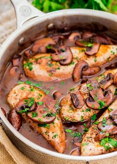 Chicken Madeira - tender chicken breasts in a rich peppery Madeira sauce with…