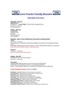 Family Reunion Agenda  Family Reunions Family Reunion