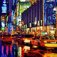By Night, Patrick Kinn Pop Art, Art Gallery, Quebec, Night, Artwork, Canada, Painting, Disney, Modern Paintings