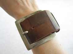 Two-toned Leather Cuff with Silver Buckle by Hendeys on Etsy