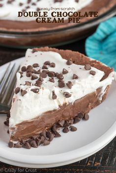 Double Chocolate Cream Pie - this easy pie recipe is completely from scratch! This chocolate cream pie with a chocolate crust is great for any occasion.