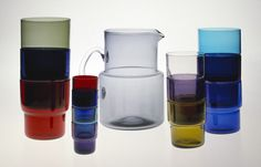 Pitcher and tumblers. Nuutajärvi.1954 (designed) 1954-1968 (production)