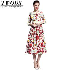 S-XL Early Fall Runway Daisy Patch Midi Dress Elegant Red Floral Print Slim Fit Flare Vestidos Like and share if you think it`s fantastic! www.artifashion.n... #shop #beauty #Woman's fashion #Products