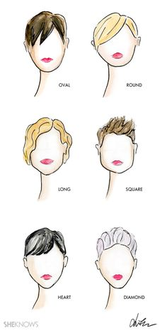 My illustrations - The right pixie cut for your face shape