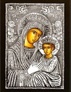 Silver Greek Orthodox icon of Theotokos