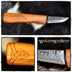 Viking knife. Blade by Maihkel Eklund (Sweden), carved handle, from yew wood, by 'Welten Wanderer' ('World Walker' / Austria). http://www.weltenwanderer.info/werkelblog/?p=2459