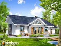Dom w akebiach 4 Affordable House Plans, Cottage Homes, Home Fashion, My Dream Home, Bungalow, Gazebo, Shed, Exterior, Outdoor Structures