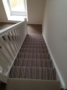 Striped stairs at Peter Allen floor covering ltd settle England