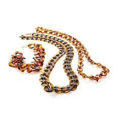 Rara Avis by Iris Apfel Set of Three Amber-Color Resin Link Necklaces at HSN.com.