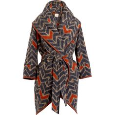 MW Matthew Williamson Blanket Cocoon Chevron Coat ($756) ❤ liked on Polyvore