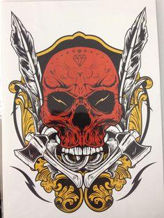 ea04f13e5325b Nu-TATY Red Skull Temporary Tattoo Body Art Flash Tattoo Stickers Waterproof  Henna Tatoo Styling Home Decor Wall Sticker. Health & Beauty Products