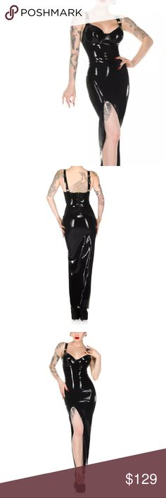 Black patent leather vinyl stretch dress long slit Sexy Full bodysuit dress bandage bondage elastic corset stocking patent faux leather wet look stretch tight fitted jumpsuit jumper Romper 1 piece zippered back  dominatrix club wear rave festival burning man leatherette black sexy go go dancer stripper costume parade party dress up Halloween Lingerie cosplay Euro cyber punk rock music video vixen bombshell siren vintage Pinup photo shoot wheels dollbaby agent provocateur dolce gabanna…