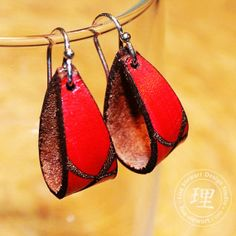 Contemporary Leather Earrings - Sterling Fat Loop Red and Brown