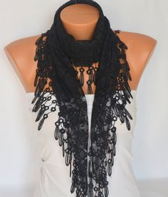 Black skull lace scarf winter scarf gift for her by bstyle on Etsy, $20.00