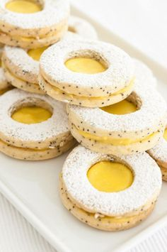 lemon poppyseed linzer cookies - I love lemon and Linzer cookies, this sounds yummmm Cookie Recipes From Scratch, Healthy Cookie Recipes, Delicious Desserts, Dessert Recipes, Yummy Food, Food For The Gods, Grapefruit Recipes, Biscuits, Galletas Cookies