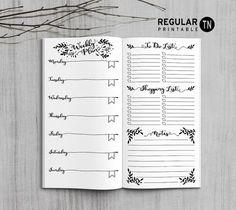 Printable Midori Weekly Planner Inserts - Traveler's Notebook Regular - Happy Digital Download
