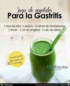 Jugo de vegetales para la gastritis......1 taza piña, 1 pepino, 4 ramas hierbabuena, 1 limón, 1 taza jengibre, 1 cucharadita savila