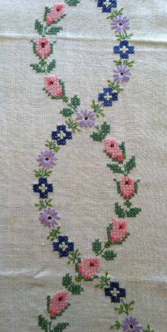 Detail from an embroidered tablecloth   Rose Stebbinhaus, New York