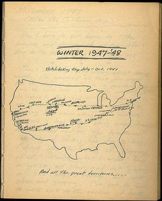 Jack Kerouac's hand-drawn cross-country road trip map from On the Road.