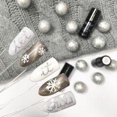 """Polubienia: 3,711, komentarze: 18 – NeoNail Poland (@neonailpoland) na Instagramie: """"❄️Let it snow!❄️Biało-szary #manicure z dodatkiem lakieru Cat Eye, brokatu i srebrnego paint gelu…"""""""