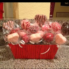 Individually wrapped cake pops for Valentines Day.