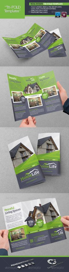 Real Estate Tri-Fold Template #GraphicRiver Real Estate Tri-Fold Template Fully layered INDD Fully layered PSD 300 Dpi, CMYK IDML format open Indesign CS4 or later Completely editable, print ready Text/Font or Color can be altered as needed All Image are in vector format, so can customise easily Photos are not included in the file Font File: Lato Font: .fontsquirrel /fonts/lato Bree-serif: .fontsquirrel /fonts/bree-serif Social-Logos: .dafont /social-logos.font Help.txt file Created…
