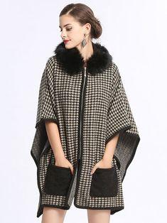 Plus Size Elegant Women Houndstooth Faux Fur Cloak Coats