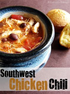southwest chicken chili...delicious and easy...I'll do a version with green chilies, Pinto beans, taco seasoning, chili seasoning I used 1 can of diced tomatoes with green chilies and 2 cans of diced tomatoes.  thyme, chili powder and serve with cheese and sour cream
