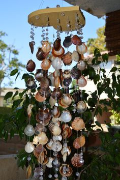 Wind Chimes Sea shell yard art Glass bead wind by Shannanagens