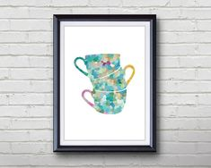 Cups Kitchen Print - Home Living - Cups Painting - Kitchen Wall Art - Wall Decor - Home Decor, House Warming Gifts Kitchen Prints, Kitchen Wall Art, Coffee Poster, Rooms Home Decor, Home And Living, Wall Art Decor, House Warming, I Shop, Cups