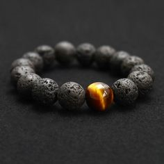 Volcanic Lava Stone Bracelet; Tiger Eye 10 mm Beads; Men Fashion Jewelry;