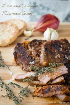 Λατιν μπριζολες με κοριανδρο και γλυκολεμονο – lime and coriander marinated steaks