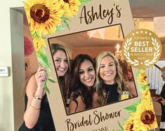 Bridal Shower Photo Prop - Sunflower - DIGITAL FILE - Photo Prop Frame - Graduation - Printed Option Available - Wedding Photo Booth Props