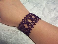 gypsy bracelet bohemian bracelet tatted cuff bracelet by MamaTats