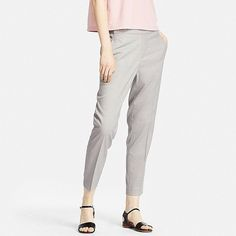 WOMEN SMART STYLE ANKLE LENGTH PANTS, GRAY, large