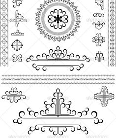 """Collection of Calligraphic Details and Ornaments  #GraphicRiver         Collection of calligraphic details and ornaments for decoration borders and frames   Vector Illustration.EPS-8; Main files and """"fully editable"""": Ai; EPS; PDF formats (with minimum A#symbol #white"""