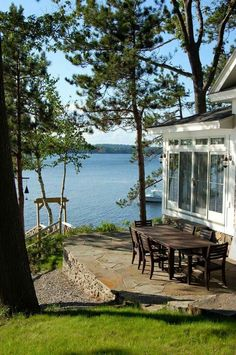 patio of a small cottage in Maine Cabins And Cottages, Beach Cottages, Small Cottages, Lake Cottage, Cottage Style, Lakeside Cottage, Cottage Patio, Cottage Exterior, Lakeside Living