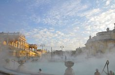 Széchenyi Baths early in the morning in Budapest.