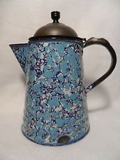 Antique Graniteware Enamelware Coffee Pot Tin Lid Mottled End of Day Pattern