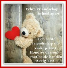 Vriendschap is apart Friendship, Teddy Bear, Humor, Quotes, Animals, Life, French Kiss, Qoutes, Animales