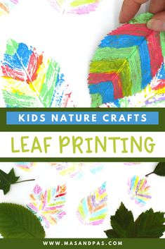 Your kids will love making these easy and fun rainbow colored art prints using some leaves and paint. It's a perfect way to bring the outdoors inside and get a little creative! #naturecrafts #paintingcrafts #craftsforkids #craftykids #funcraftsforkids Diy Crafts For Kids Easy, Easy Arts And Crafts, Summer Crafts For Kids, Simple Crafts, Toddler Crafts, Projects For Kids, Kids Crafts, Fun Activities To Do, Family Activities