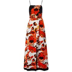 Preowned Jacques Reval 1970s Vintage Couture Floral Maxi Dress + Belt ($750) ❤ liked on Polyvore featuring dresses, long dresses, maxi dress, red, embroidered maxi dresses, floral dresses, embroidery dresses, red floral dress and vintage dresses