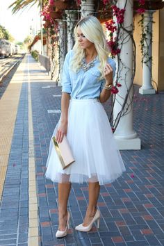 We could go a little country chic and do a chambray button down...as opposed to a sweater. tulle skirt | denim shirt | Fashion blogger