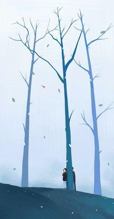Ideas For Wallpaper Iphone Winter Cute Wallpaper Animes, Cartoon Wallpaper, Wallpaper Backgrounds, Iphone Wallpaper, Couple Illustration, Illustration Art, Aesthetic Art, Aesthetic Anime, Stock Design